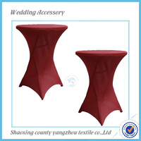 burgundy wedding stretch table cover/cheap high bar cocktail table cloth for wedding/party wholesale cocktail table cover
