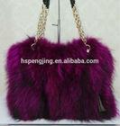 colored real raccoon fur bags/ handbags