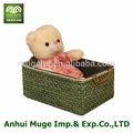 venta al por mayor atractivo aspecto de paja artificial cesta con mango de cuero para el almacenamiento