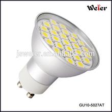 4.5W, 360lm, 220-240V AC 3000K,CRI80 gu10 27SMD 5050 LED