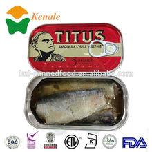 good taste manufacturer 125g*50tins canned titus sardines fish in oil 125g