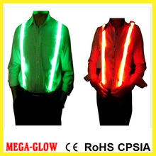 Eco-friendly LED light up men's suspenders for party