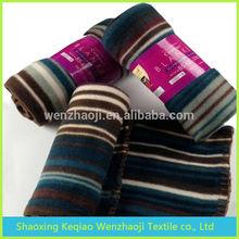 100% polyester cheap plain thick personalized fleece blanket stripe