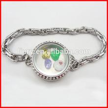 Floating locket bracelet, stainless steel locket bracelet, bracelet pendant