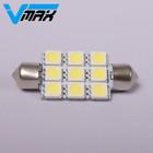 led lights for car interior festoon 41mm 9 SMD 5050 lights 12V car interior bulbs