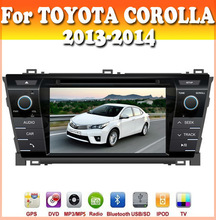 touch sreen car dvd with GPS Navigation for TOYOTA COROLLA 2013-2014 with car audio radio bluetooth ipod usb/sd car dvd gps