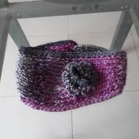 Knitted Winter Headband Hat With Crochet Flower For Women
