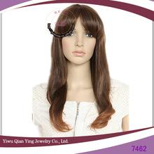 brown ladies korean hair style high temperature synthetic fiber wig