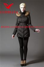 Black faux fur trim padding filled women jacket