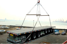 2014 Container Flatbed truck semi trailer with 3 Fuwa Axle Mechanical Suspension Double tires Truck Head for sale