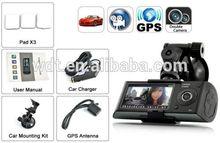 CE,Factory, Promotion, Dual Camera New Design Dual Lens Car DVR Dash Cam / G-sensor, Google Map HD Car DVR GPS