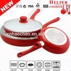 3 piece aluminum ceramic frying pan in pan set with lid