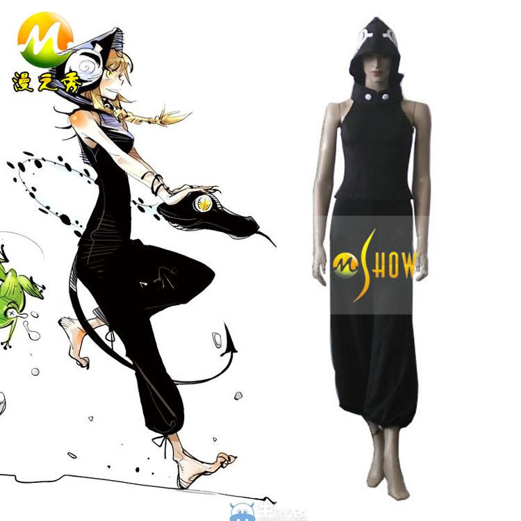 Japonés de dibujos animados anime cosplay traje de soul eater medusa negro directamente desde el fabricante oem/odm