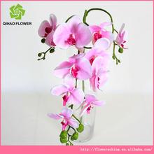 grossista novo design 3 cabeças flores artificiais de orquídeas tecido preço
