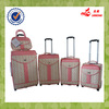 4 pcs two wheels beige PU leather travel luggage bags