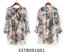 Ladies chiffon printed new fashion neck design of blouse
