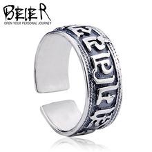 Beier Om Mani Padme Hum 925 ayar gümüş yüzük açılış boyutu ayarlanabilir mens eski dua yüzük şanslı takılar d0604