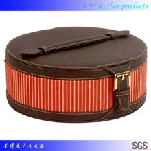 Wholesale gift high quality round leather cosmetic case