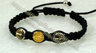 BRACELET, METAL, 10MM, ROUND, 2 BROWN ENAMELED BEAD, 1 GOLD BEAD IN THE MIDDLE, BLACK CORD, SHAMBALLA