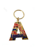 London Tourist key holder, letter A shape key holder, enamel key holder