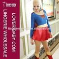 maravilloso vestido de manga larga atrás del cabo supergirl heroína de playa y fiesta de carnaval de fantasía traje de fiesta