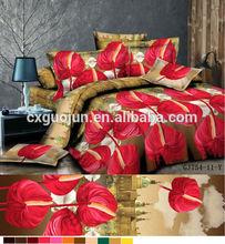 3d bed sheet hot designer 100% brushed polyester fabric big flower for wholesale india