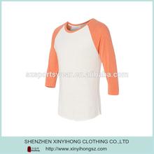 Contrast Three-Quarter Length Fitting Tri Blend T Shirts Man Baseball