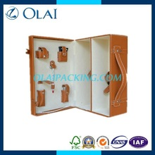top-grade fancy leather box for 2 bottle for sale with accessories