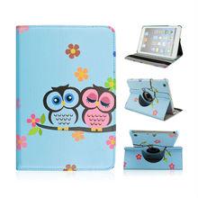 Hot ! Rotatable Elastic Belt Design Side Flip Stand PU Leather Case for iPad Mini iPad Mini 2 Retina (Two Owls on the Branch)