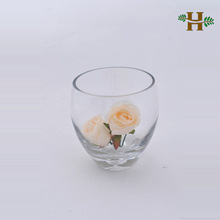 Handmade flat round glass bowl vase with bubble bottom