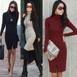 New korean fashion office long slim sleeve collar sweater dress women autumn dress china online shopping SV007628