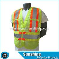 fluorescent fabric vest hi vis safety orange reflective