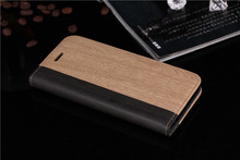 High Quality Wood Grain Wallet Flip Leather Case For Apple iPhone 6 iPhone6