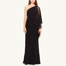 USA one-shoulder formal chiffon dresses with bell sleeve lady long elegant black evening dress