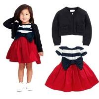 2014 AUTUMN NEW DESIGN FASHION KIDS GIRLS COAT AND DRESS SETS(M30148A)