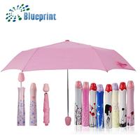 Promotional Gift Pretty 3 Folding Pink Rose Bottle Umbrella