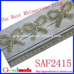 New Design Luxury Bridal bow Clear Crystal Rhinestone Trim for Garment, Bags, Dresses Decoration