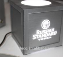 acrylic with brushed aluminium bottle display stand