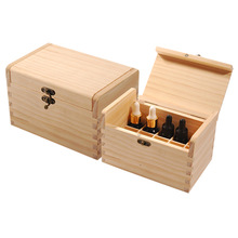 Natural Colour Unfinished Hinged Lid Wooden Essential Oil Bottle Box