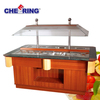 Top-selling fan cooling wooden salad bar electric salad bar salad refrigeration table with CE approval made in china