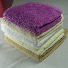 100%bamboo fiber solid color embroidered velour hand towel