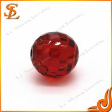 artificial grade AAA garnet fancy round Ball gemstone beads with CZ jewelry