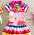 Peppa pig vêtements de mode, robe de bébé de conception, anniversaire, robes pour les filles