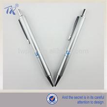 silvery barrel retractable metal body ballpoint pens