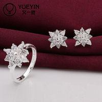 Fashion Innovative New Silver Plated Brass Flower Jewelry Set