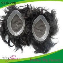 Virgin indian hair skin injection toupee human hair silky straight natural black toupee
