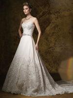Strapless satin lace appliqued a line floor length sweep train german wedding dresses