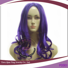 curly long synthetic party city wigs purple hair wigs