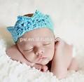 Luz azul infantil recém-nascido de crochê artesanal de alta qualidade artesanal bonito acabamento baby baby beanie chapéu e possui elástico