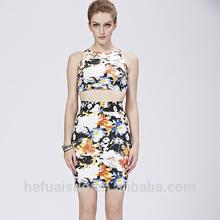 HL style bandage bikini sexy floral printing dress women club dresses designs two pieces dresses H1337